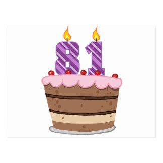 Leeftijd 81 op de Cake van de Verjaardag Briefkaart