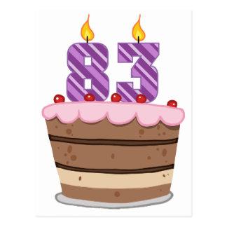 Leeftijd 83 op de Cake van de Verjaardag Briefkaart