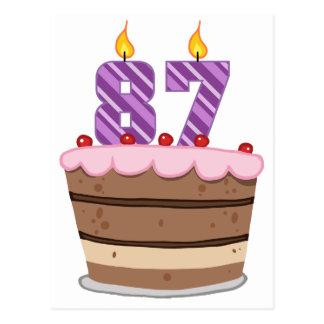 Leeftijd 87 op de Cake van de Verjaardag Briefkaart