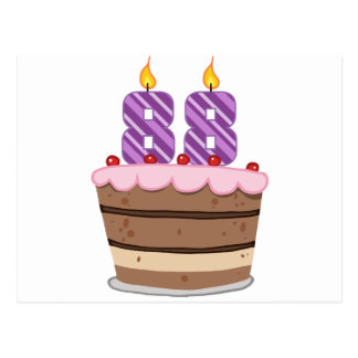 Leeftijd 88 op de Cake van de Verjaardag Briefkaart