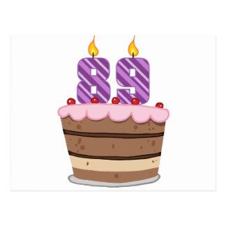 Leeftijd 89 op de Cake van de Verjaardag Briefkaart
