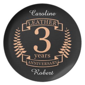 Leer 3 van de huwelijksjaar verjaardag melamine+bord