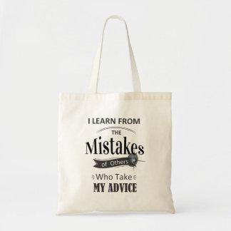 leer van de fouten. grappig Canvas tas