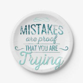 Leer van fouten motivatie typografiecitaat papieren bordje