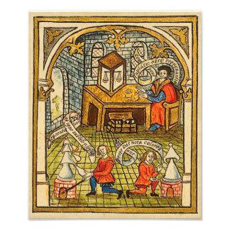 Leerlingen in een Middeleeuws Laboratorium Foto Afdruk