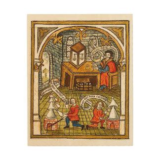 Leerlingen in een Middeleeuws Laboratorium Hout Print