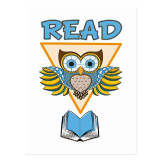 Lees Boeken Blauwe Gouden Uil Briefkaart