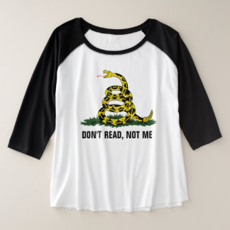 Lees niet, niet me grote maat raglan t-shirt