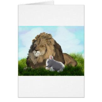 leeuw en lam briefkaarten 0