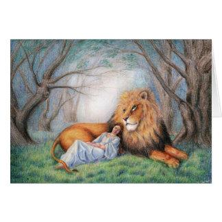 Leeuw en me wenskaart