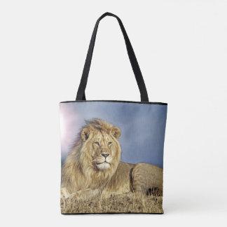 Leeuw in het bolsa van de Safari Draagtas