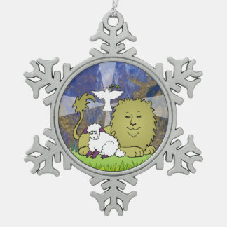Leeuw, Lam, en Duif Tin Sneeuwvlok Ornament