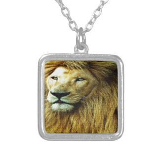 Leeuw met de Grens van de Regenboog Ketting Vierkant Hangertje