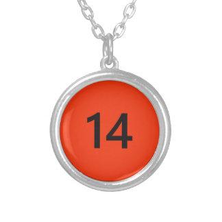 Legendarisch Nr 14 in sinaasappel en zwarte Ketting Rond Hangertje