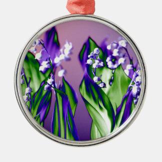 Lelietje-van-dalen in Lavendel Zilverkleurig Rond Ornament