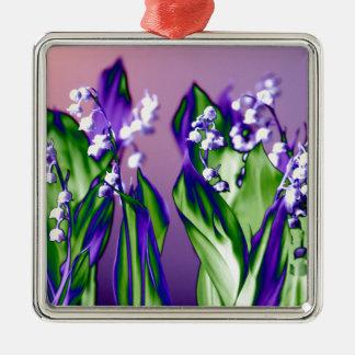 Lelietje-van-dalen in Lavendel Zilverkleurig Vierkant Ornament