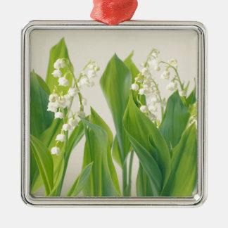 Lelietje-van-dalen Zilverkleurig Vierkant Ornament