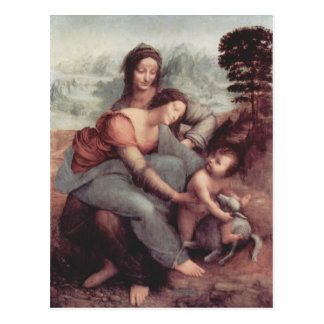 Leonardo Vinci- Virgin en het Kind met St. Anne Briefkaart