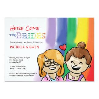 Lesbische Uitnodiging van Douche twee de Gelukkige