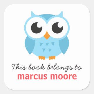 Leuk blauw dierlijk de cartoon bookplate boek van vierkante sticker