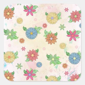 Leuk bloemenwatercolourpatroon vierkante sticker