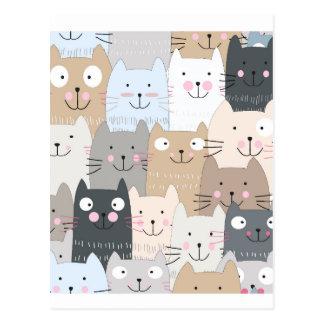 Leuk de katten blauw grijs patroon van het briefkaart