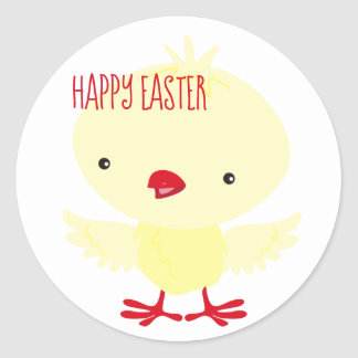 Leuk Geel Eendje   Pasen Ronde Sticker