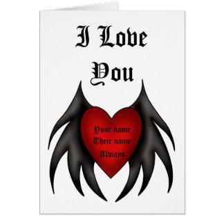 Leuk gotisch rood gevleugeld hartaanzoek