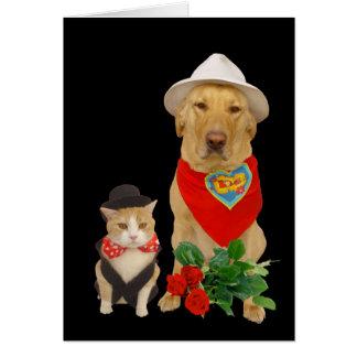 Leuk, Grappig Kat & Hond/Laboratorium Valentijn Wenskaart