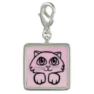 Leuk Groot Eyed het Gluren van de Kat Roze Foto Charm