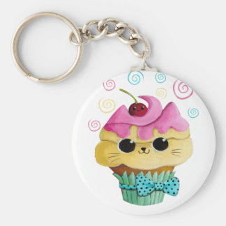 Leuk Kat Cupcake Basic Ronde Button Sleutelhanger