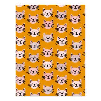 Leuk kattenpatroon in gele mosterd briefkaart