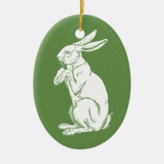 leuk konijn keramisch ovaal ornament