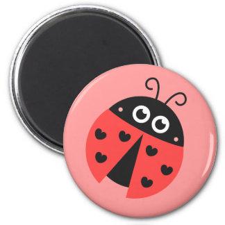 Leuk Lieveheersbeestje met harten als vlekken Ronde Magneet 5,7 Cm