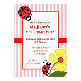 Leuk Lieveheersbeestje op De Roze Strepen van de 11,4x15,9 Uitnodiging Kaart