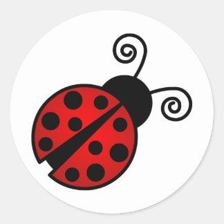 Leuk Lieveheersbeestje - Rood en Zwarte Ronde Sticker