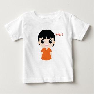 Leuk Meisje met Oranje kleurenvector Baby T Shirts