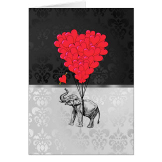 Leuk olifant en liefdehart op grijs briefkaarten 0
