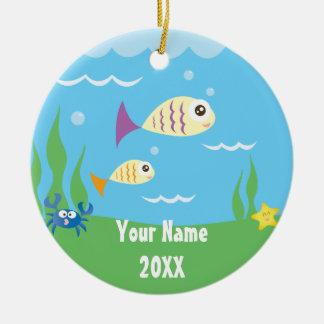 Leuk onder het OceaanAquarium van het Zee voeg Uw Rond Keramisch Ornament