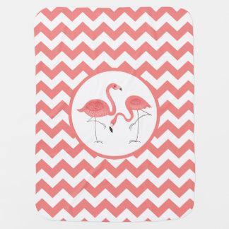 Leuk Paar Roze Flamingo's met Chevron Inbakerdoek