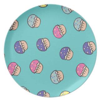 leuk pastelkleur cupcake patroon party bord