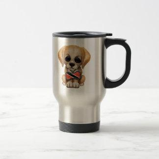 Leuk Puppy met het Label van de Hond van de Vlag Reisbeker