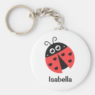 Leuk Rood en Zwart Lieveheersbeestje met harten Basic Ronde Button Sleutelhanger