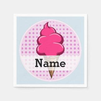 Leuk roze gepersonaliseerd roomijs voor meisjes wegwerp servetten