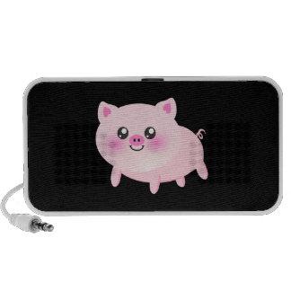 Leuk Roze Varken op Zwarte Laptop Speaker