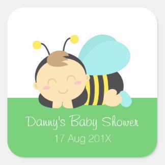 Leuk stuntel het Baby shower van de Jongen van de Vierkante Sticker