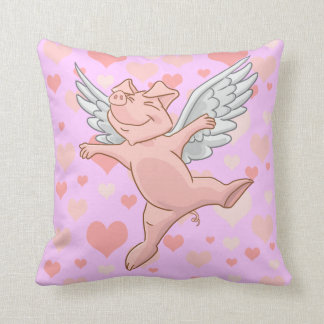 Leuk Vliegend Varken en Roze Harten Sierkussen
