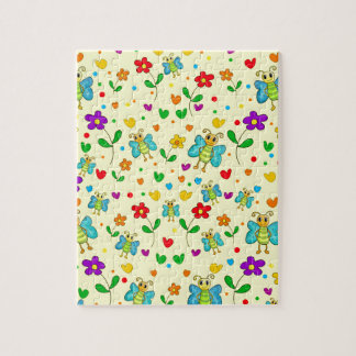 Leuk vlinders en bloemen geel patroon - puzzels