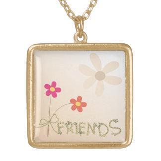 Leuk Vriendschap in reliëf gemaakt hartontwerp Goud Vergulden Ketting