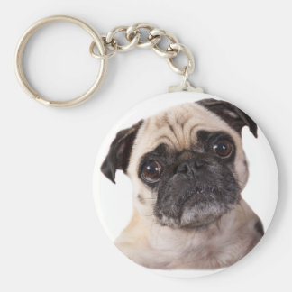 leuk weinig pug hond basic ronde button sleutelhanger